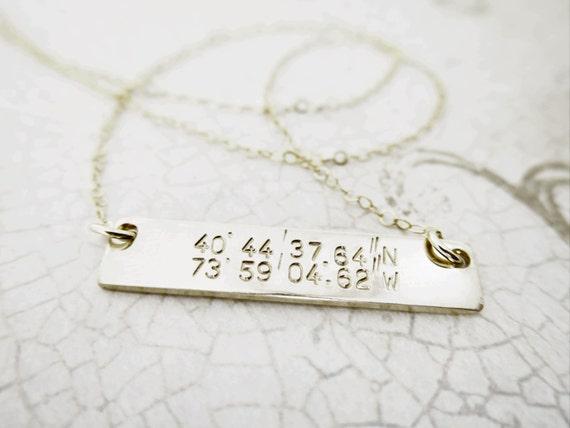 Latitude Longitude Necklace | Horizontal Bar Necklace | Gold Bar Necklace | Custom Coordinates | Custom Latitude Longitude