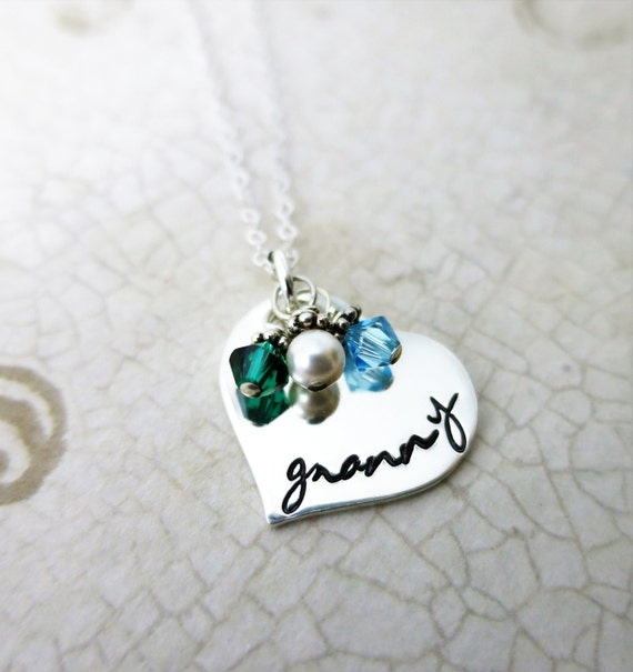 Granny Necklace | Sterling Silver Heart Jewelry | Gift for Grandma | Script Font | Grandkids' Birthstones | Swarovski Crystals
