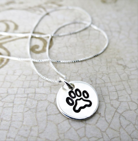Paw Print Necklace | Gift for Dog Lover | Gift for Animal Lover | Sterling silver Pendant | Gift for Cat Lover | Hand Stamped Paw Print