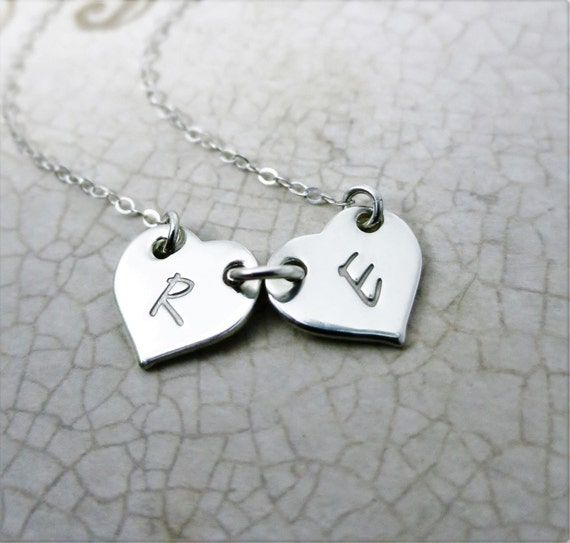 Initial Jewelry | Two Initials | Two Hearts | Mommy Necklace | Two Kids | Twins Jewelry | Best Friends Necklace | Dainty Jewelry | Sterling