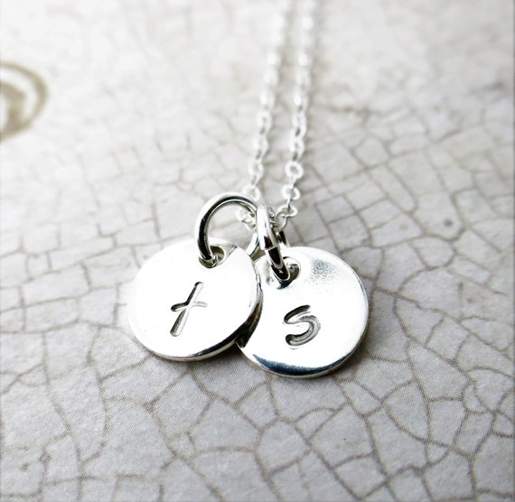 Tiny Initial Necklace | Small Discs | Custom Necklace | Mommy Necklace | Gift for Mom | Gift for Grandma | Dainty Initial Necklace