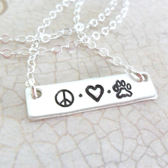 Pet Necklace | Peace Sign | Heart | Paw Print | Bar Necklace | Sterling Silver Bar | Pet Mom | Pet Love | Dog Jewelry | Cat Jewelry