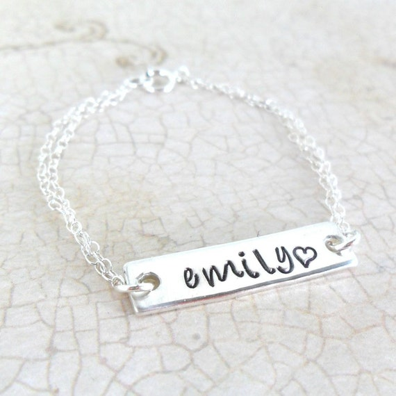Baby Bracelet | Engraved | Hand Stamped | Sterling Silver | Handwriting Font | Script Font | Custom | Personalized