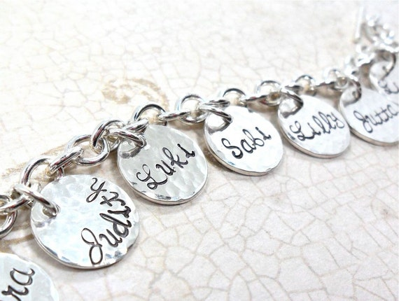 Family Charm Bracelet | Jewelry for Mom | Jewelry for Grandma | Sterling Silver Charm Bracelet | Kids' Names | Grandkids Names | Custom