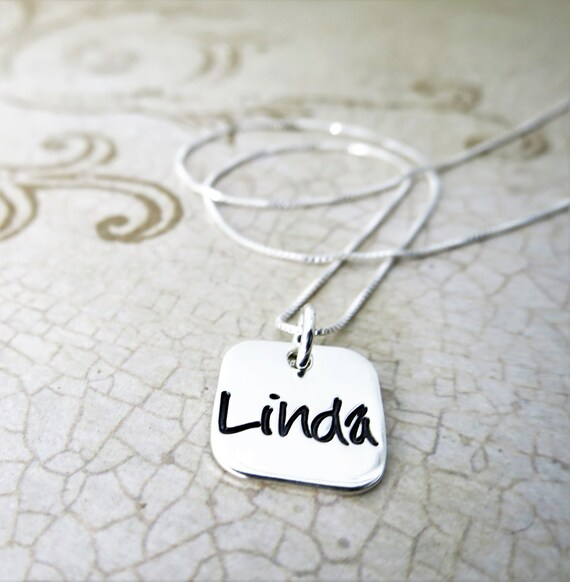 Name Necklace | Name Jewelry | Custom Name Jewelry | Sterling Silver Pendant | Sterling Silver Square | Rounded Square Pendant