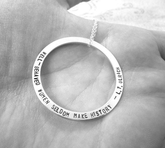 Custom Quote Necklace | Sterling Silver Washer | Large Washer | Thin Washer | Long Quote