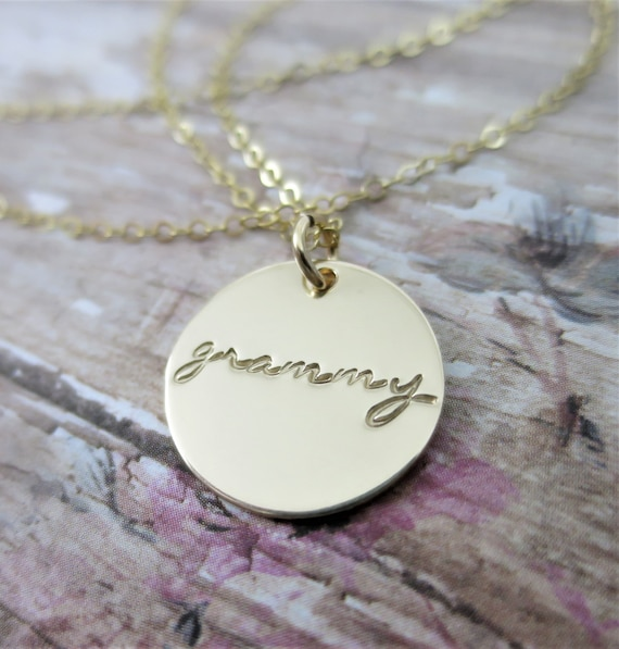Grammy Necklace | Grammy Jewelry | 14k Gold Filled Pendant Necklace | Hand Stamped Jewelry | Grandma | Bubbe | Nana | Gift for Grandma