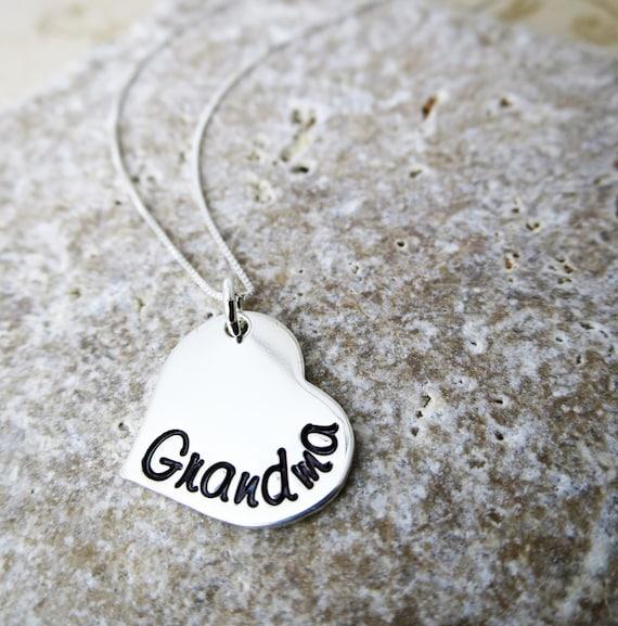 Grandma Necklace | Sterling Silver Heart Jewelry | Gift for Grandma | Script Font | Grandkids' Birthstones |  Swarovski Crystals | Granny