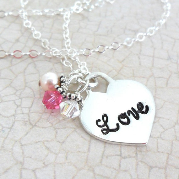 Love Heart Necklace with Swarovski Crystals - Sterling Silver