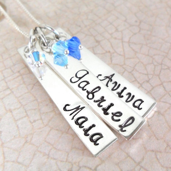 Mommy Necklace | Custom Mother's Necklace | Gift for Mom | Grandma Jewelry | Three Kids' Names | Sterling Silver Bars | Three Birthstones