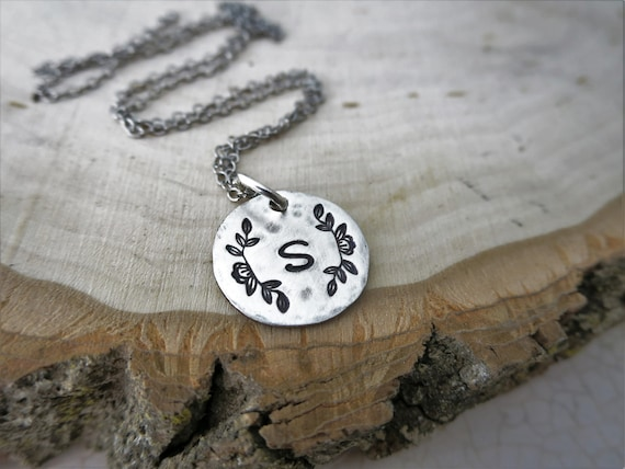 Initial Necklace - Sterling Silver Initial Jewelry - Magnolia Flower Jewelry - Magnolia Branch - Personalized Necklace - Rustic Jewelry