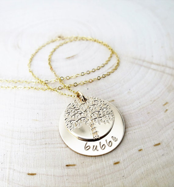Bubbe Necklace   Jewish Grandmother Necklace   Bubbie Jewelry   Bubby Jewelry   Tree of Life   Gold Fill Discs   Stacked Discs