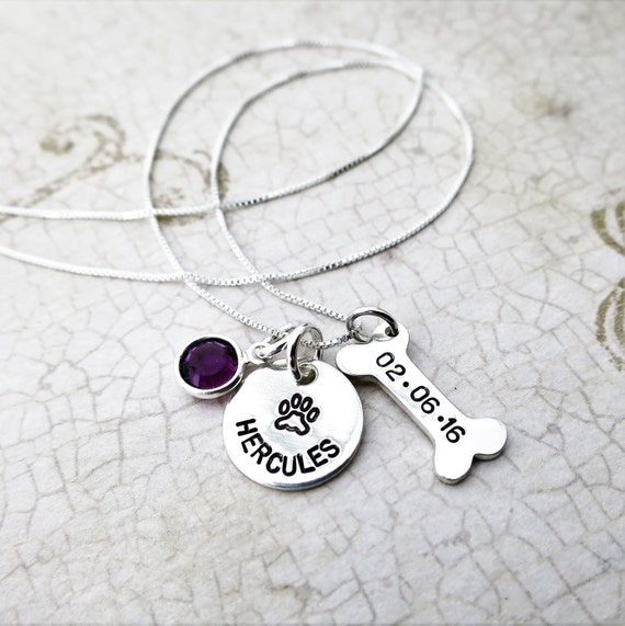 Pet Adoption Jewelry | Personalized Pet Necklace | Custom Paw Print Necklace | Dog Bone Necklace | Adoption Date Jewelry | Birthstone
