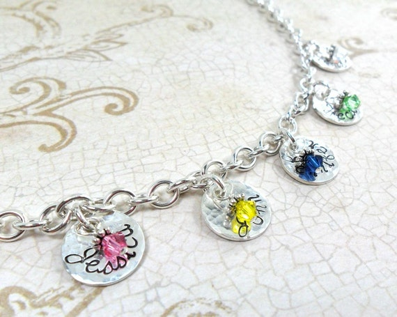 Silver Charm Bracelet - Mommy Jewelry - Grandma Jewelry - Custom Names - Kids' Names - Grandkids Names - Hand Stamped - Birthstones - Family