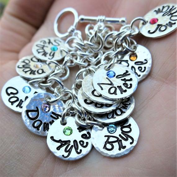 Custom Charm Bracelet | Sterling Silver Disc Bracelet | Embedded Swarovski Crystals | Hammered Disc Bracelet | Personalized Gift for Mom