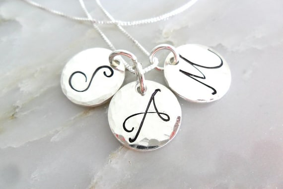 Monogram Necklace / Initial Necklace / Script Initials / Two Disc / Three Disc / Sterling Silver Pendants / Hand Stamped / Initial Jewelry