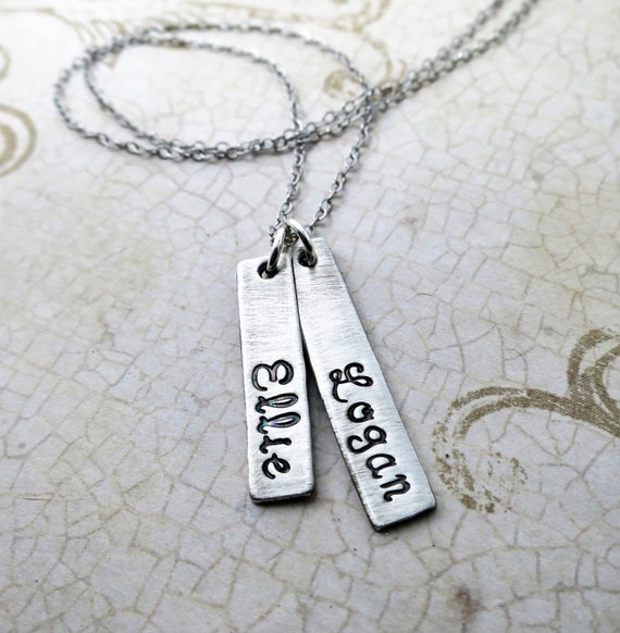 Family Necklace | Sterling Silver Charm Necklace | Kids Names | Two Names | Gift for Mom | Mommy Necklace | Mom Jewelry | Grandma Necklace