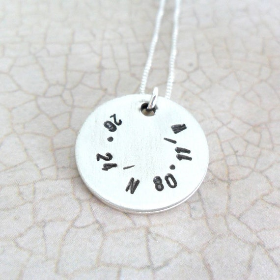 Latitude Longitude Necklace - Custom Coordinates - Sterling Silver Disc - Hand Stamped