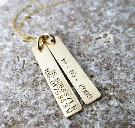 Latitude Longitude Jewelry | Gold Bar | Gold Fill | Custom Necklace | Personalized | Dates or Coordinates