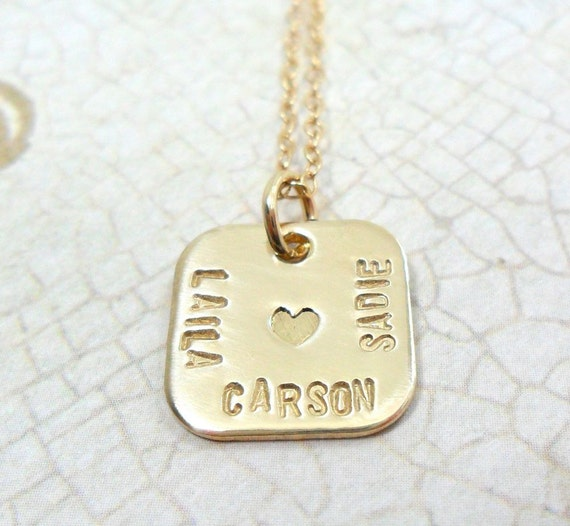 Mommy Necklace | Three Names | Heart Imprint | Gold Fill | Rounded Square Pendant | Gift for Mom | Custom English | Custom Hebrew