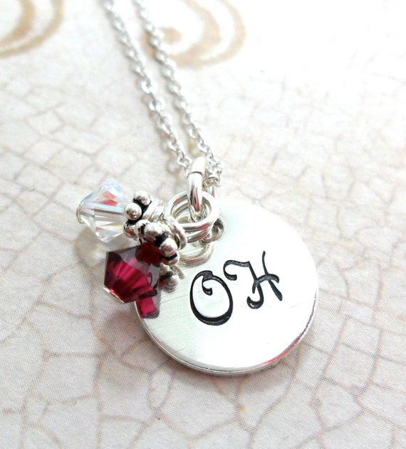 Ohio State Necklace - The Ohio State University - Fan Gear - Scarlet and Gray - Hand Stamped - Sterling Silver - Graduation Gift