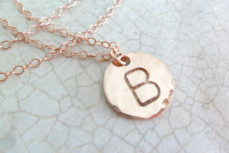 9efd0cb19 Rose Gold Initial Necklace Rose Gold Block Monogram Large | Etsy