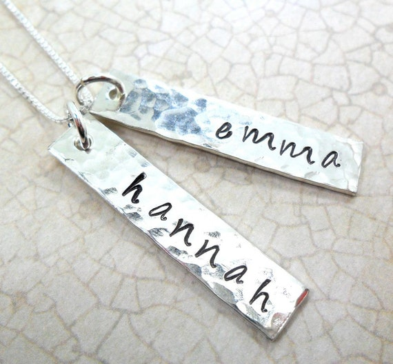 Mommy Necklace | Custom Name Jewelry | Personalize Jewelry | Silver Bar Jewelry | Two Silver Bars | Kid's Names | Gift for Mom | Grandma