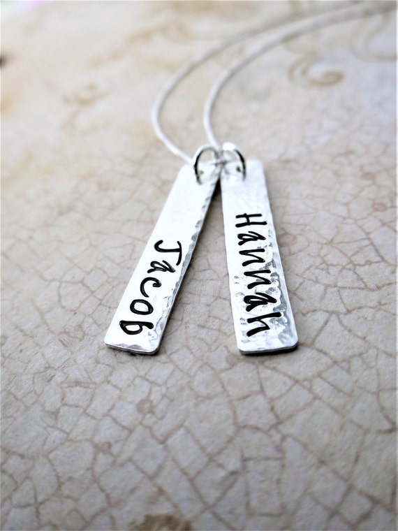 Custom Name Necklace | Sterling Silver Bar Necklace | Vertical Bar Necklace | Hand Stamped Names | Mommy Necklace | Handwriting Font
