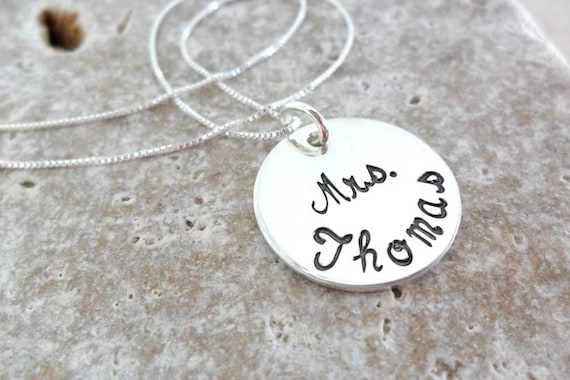 Mrs. Necklace, Custom Mrs. Necklace, Sterling Silver Jewelry - Gift for Wedding Shower - Gift For Bride - Gift for Friend's Wedding