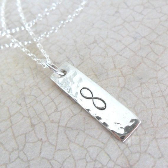 Infinity Jewelry | Silver Bar Necklace | Hammered Bar Necklace | Vertical Bar Necklace | Layering Necklace | Secret Message Jewelry