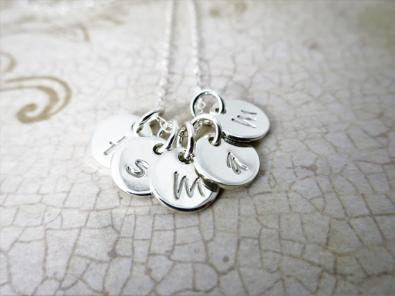 Tiny Discs Necklace | Initial Necklace | Sterling Silver Monogram Necklace | Three Disc | Four Disc | Five Disc | Tiny Sterling Silver Discs