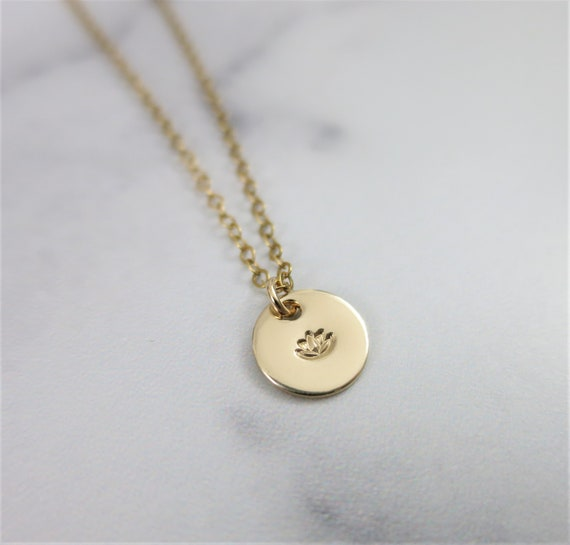 Ready to Ship | Lotus Necklace | 14k Gold Filled | Hand Stamped Jewelry | Tiny Pendant