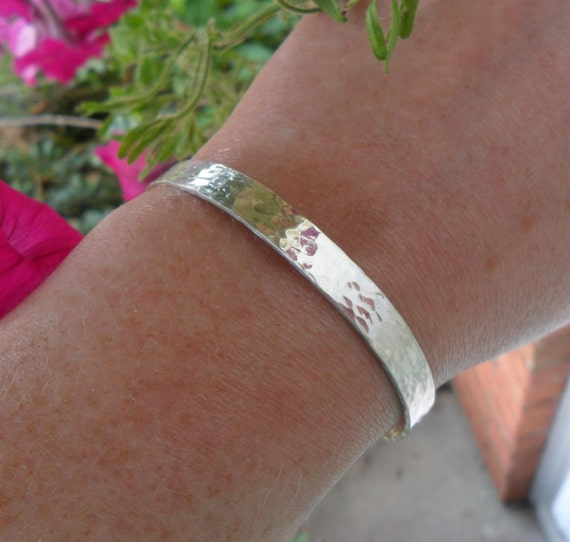 Custom Cuff Bracelet | Sterling Silver Cuff | Personalized Cuff Bracelet | Organic Jewelry | Hammered Cuff | Secret Message Bracelet