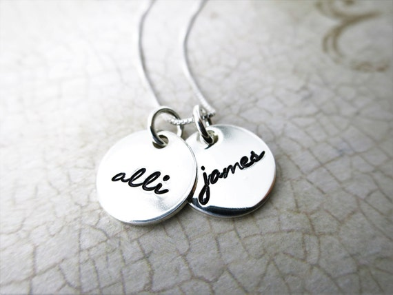 Custom Name Necklaces | Two Names | Two Disc | Sterling Silver | Script Font | Handwriting Font | Mommy Necklace | Gift for Mom or Grandma
