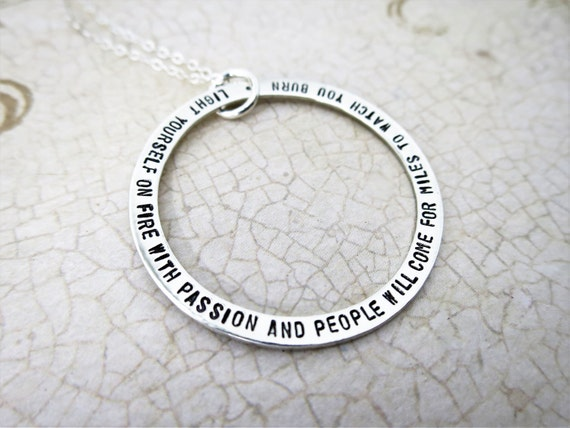 Custom Quote Necklace | Personalized Quote Jewelry | Large Pendant | Long Quote | Inspirational | Graduation Gift | Special Occasion Gift
