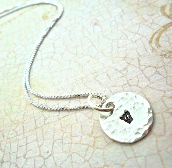 Hebrew Necklace | Hebrew Initial Necklace | Custom Judaica | Sterling Silver Disc | Hammered Disc | Hand Stamped