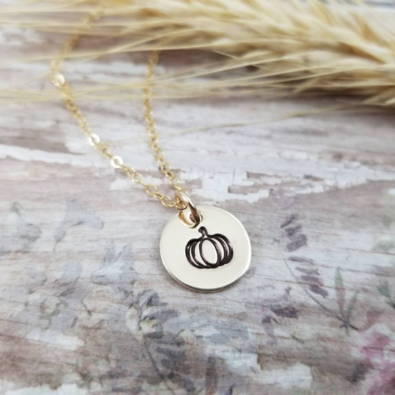Pumpkin Necklace | Pumpkin Jewelry | Autumn Necklace | Fall Jewelry | 14k Gold Filled | Hand-stamped jewelry | Harvest Jewelry | Halloween