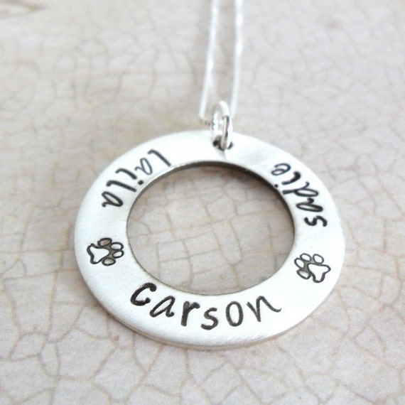 Pet Name Necklace | Custom Pet Necklace | Three-Four Pet Names | Paw Print Necklace | Pet Lover Gift | Pet Mom Jewelry | Sterling Silver