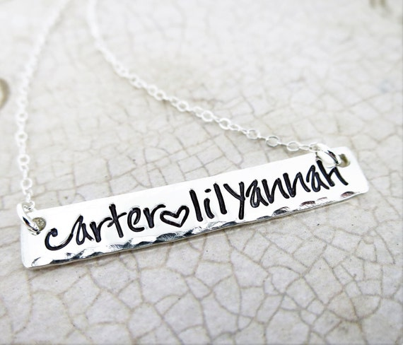 Custom Silver Bar Necklace | Mommy Necklace | Kids' Names | Hand Stamped Sterling Silver | Horizontal Silver Bar Necklace