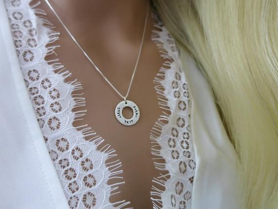 Hebrew Necklace   Custom Hebrew Jewelry   Sterling Silver   Handstamped   Washer Necklace   Judaica   Bat Mitzvah   Bar Mitzvah