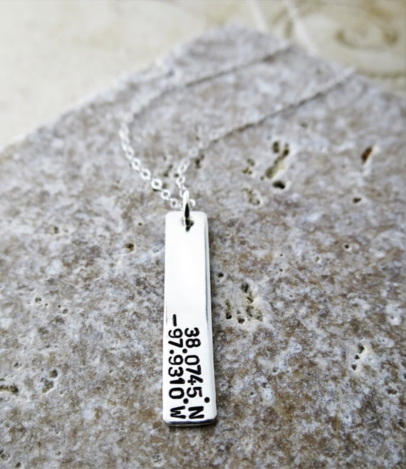 Latitude Longitude Necklace - Sterling Silver Bar Necklace - Custom Coordinates - Special Location - Special Place - Vertical Bar Necklace