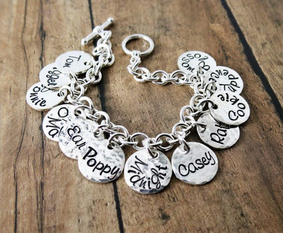 Sterling Silver Charm Bracelet | Custom Sterling Silver Jewelry | Hand-stamped Personalized Gift | Gift for Mom | Gift for Grandma | Family