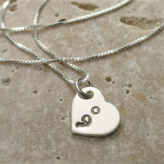 Semicolon Necklace - Suicide Awareness - Suicide Prevention - Semi colon Jewelry - Sterling Silver Heart