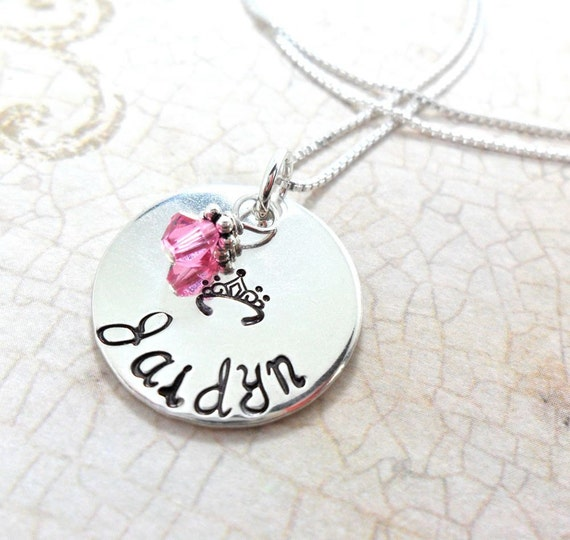 Princess Necklace | Necklace for Little Girl | Tiara Necklace | Crown Necklace | Custom Name Necklace | Girls' Birthday Gift | Young Girl