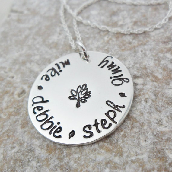 Custom Sterling Silver Mommy Necklace - Gift for Mom - Gift for Grandma - Family Tree - Hand Stamped - Personalized Gift - Love Grows