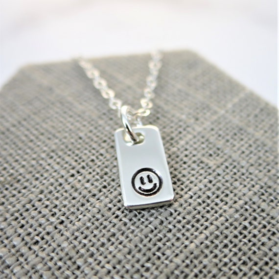Smiley Face Necklace | Smiley Face Pendant | Tiny Pendant Necklace | Sterling Silver | Smile | Fun Jewelry | Inspirational