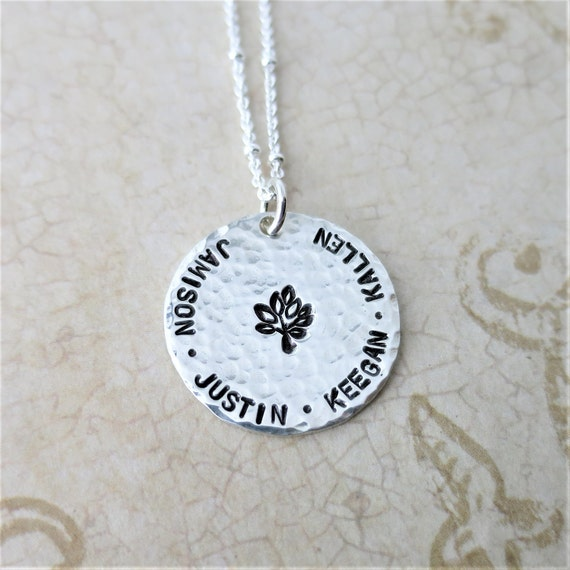 Family Tree Necklace | Kids' Names | Grandkids Names | Gift for Grandma | Gift for Mom | Mother's Day | Mommy Jewelry | Sterling Silver