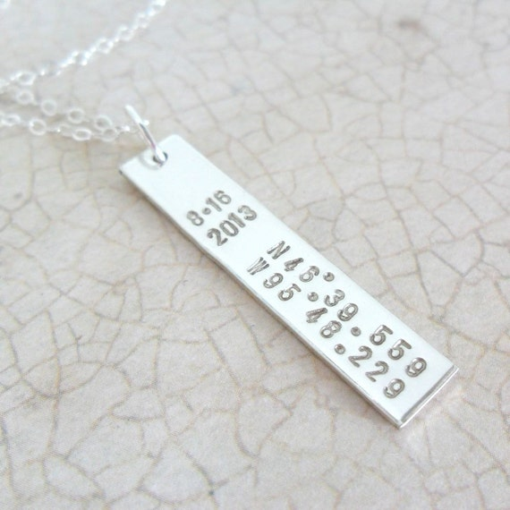 Latitude Longitude Necklace | Coordinates Jewelry | Latitude Longitude Jewelry | Sterling Silver Bar Necklace | Custom Date | Personalized
