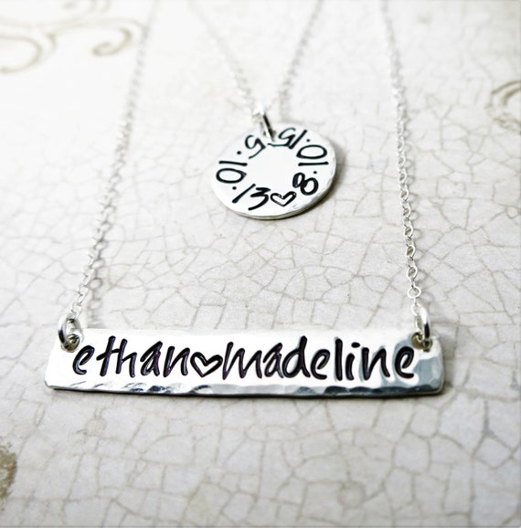 Mommy Necklace - Hand Stamped Kid's Names - Birth dates - Sterling Silver Bar - Sterling Silver Disc - Handwriting Font - Layering Necklaces