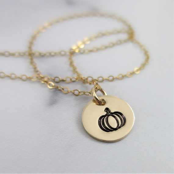 Ready to Ship | Pumpkin Necklace | 14k Gold Filled | Hand Stamped Jewelry